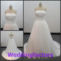 Wholesale A Line Strapless SweepTrain Length New Arrival White Chiffon Wedding Dresses with Jackets