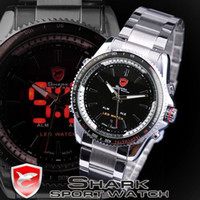 Wholesale Men LED Watches Quartz Stainless Band Digital Black Dail SHARK Brand Wrist Watch SH003