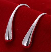 al por mayor agua de plata-La plata a estrenar de la alta calidad 925 del 100% la joyería 15pair / lot de la manera de los pendientes del perno prisionero de las gotitas de agua
