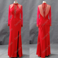 Wholesale Luxury Red Arabic Tulle Long Sleeve Evening Dress High Collar Slit Beaded Real Actual Images