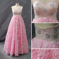 Real Photos beaded rosettes - 2017 Sweetheart Pink Prom Dresses Satin Beaded Upper Rosettes Skirt Real Actual Images Evening Party Gowns DB252