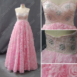 2017 Sweetheart Pink Prom Dresses Satin Beaded Upper Rosettes Skirt Real Actual Images Evening Party Gowns DB252