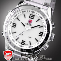 Wholesale LUXURY SHARK LED WATCHE MEN QUARTZ SPORT DIGITAL DATE DAY WHITE DIAL WRIST WATCH RETAIL SH006