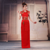 Long Chinese slap- up beautiful Cheongsam Wedding cheongsam E...