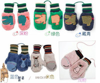 Unisex baby lamb cartoon - Baby cartoon gloves small pocket winghouse lambs wool donkey hippo children winter gloves outwear