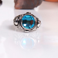 Wholesale Skyblue Stone Side Skull Ring Zinc alloy with artificial blue gemstone