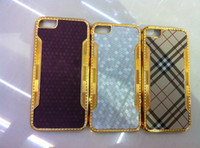 Wholesale Deluxe Leather Paste Plastic Cover Case with Blind Diamonds for iphone G th