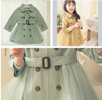 Wholesale Baby girl s autumn winter outfit tench wind coat children s outwear wind coats girl cloth dress belt