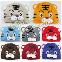 Wholesale 8 Colors Baby Hat Boy Cartoon Tiger Hat Children s Knitted Winter Cap Baby Animal Beanies
