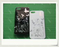 Textile plastic flower - Butterfly flower floral Glossy bling plastic hard Casing Case For iphone G