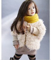 Wholesale Girl clothes girls wool coat bat sleeve cotton cashmere long sleeve Zip Sweater girls winter coat
