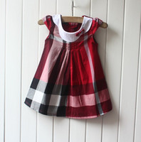 Wholesale baby girl dress luxury kid s one piece dress summer short sleeve check classic dress