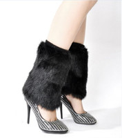 Wholesale Fashion Artificial Fur Boot Socks Warm Ladies Boot Socks Fur Boots Socks cm