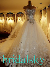 Wholesale Ivory Appliques Rhinestone Sweetheart A Line Monarch Train Wedding Dresses Bridal Gowns H
