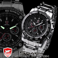 Wholesale Mens Luxury Sport Watches Army Stainless Steel Quartz Date Day Analog Shark Wrist Watch Hand SH015