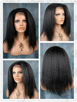 Wholesale 16 quot Glueless Cap Kinky Straight Indian Remy Human Hair Swiss Lace Front Wigs High Quality
