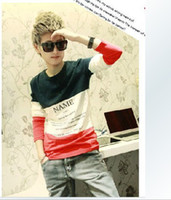 Wholesale 2012 fashion Slim hit color letters printed long sleeved t shirt Metrosexual T shirt