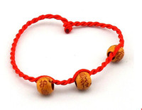 Wholesale 20P Chinese luck red ring with wooden luck bead Wrist brecelet for usb flash drive customer