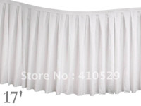 Wholesale white color banquent restaurant table skirt Polyester Table Skirt ft x