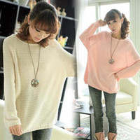 Wholesale Ladies Batwing Round Neck Knitted Pullover Jumper Casual Loose long Sweater