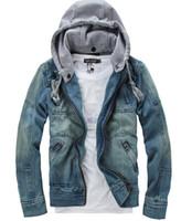 mens hoodie - Wash Blue Men s Denim Jacket Slim With Hooded Multi pocket Fashion Mens Jackets hoody hoodies