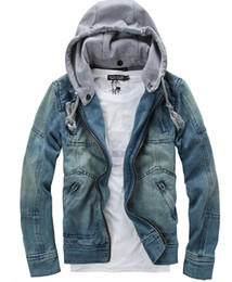 Wholesale Wash Blue Men s Denim Jacket Slim With Hooded Multi pocket Fashion Mens Jackets hoody hoodies
