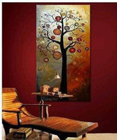 Wholesale hand painted The Money rich tree sun High Q Home Decoration Modern Landscape Oil Painting on canvas