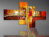 oil warmer - hand painted wall art Warm color red white fly line home decoration abstract oil painting set f