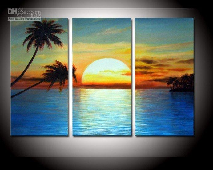 Best Quality 100% Hand Painted Golden Sky Cloud Sunrisecoconut