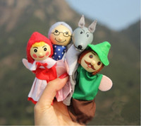 Wholesale Retail little red riding hood finger puppets a set of plush wooden doll mother tell baby story