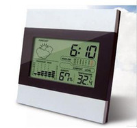 Wholesale LCD Digital Temerature Humidity Meter Thermometer Hygrometer Time Alarm Clock Larger LCD Display