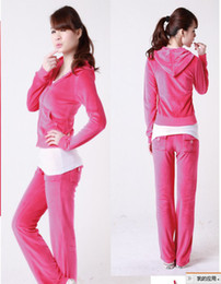 Wholesale hot sell fashion Lady s velour tracksuits Women long sleeve Hoodies sportswear track suit Pants