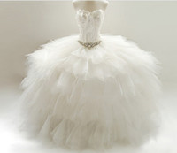 feather balls - 2014 Feathered Wedding Dresses Ruffled Skirt Bridal Ball Gown Crystals Sash Sweetheart Floor Length