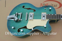 Wholesale New Style blue hollow Electirc Guitar with Bigsby Tremolo