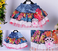 Wholesale children cute dress blue and white roses bubble the fabric denim short skirt dandys
