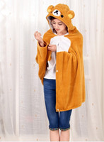 Wholesale Retail Rilakkuma Relax Bear Plush Soft Cloak Relax Bear air condition Shawls
