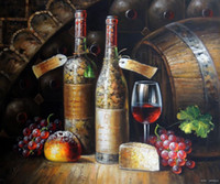 art wine tasting - Vintage Red Wine Bottles Cellar Tasting Decanter Glass Grapes Oil Painting Art