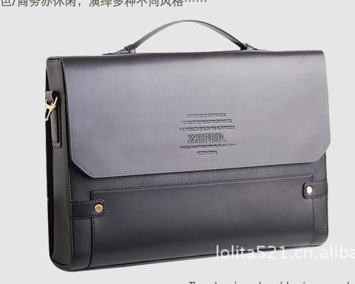Zefer Designer Bag Men's Bag Briefcase Black Pu Leather Cross Body ...