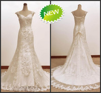 Wholesale Real Image Classic Demure Off the shoulder A line Court Train Beaded Applique Lace upWedding Dresses