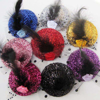 Hair Clips Worsted+Feathers Solid Children Accessories Hair Hats Feathers Hair Girls Clips Headbands Flowers Baby Hair Bows For Girls