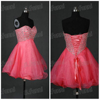Wholesale Actual Image A line Strapless Beaded Organza Lace Up Mi ni Length Cocktail Dress cd73