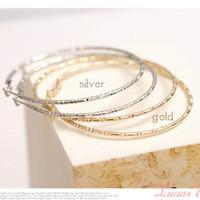 Silver large hoop earrings - Cheap large basketball hoop Earrings silver Gold plain fashion jewelry
