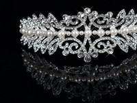 Wholesale Tiaras Wedding Bridal Accessories Crown Pearl Rhinestone Hair Decorations
