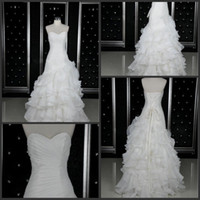 Wholesale Custom Made White Sweetheart Ruffles Organza short front long back Wedding Dresses Bridal Gowns love_bridal