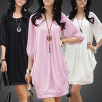 Wholesale 2012 Women Summer Wavepoint Village Round Neck Chiffon long Puff Dress Pleate E0169
