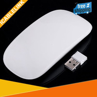Wholesale New Ultra Thin G Wireless RF Mouse Magic Multi touch Scroll Mice Wheel Receiver free sh