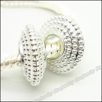 Wholesale Bright Silver Charms European Bead Fit Bracelet Zinc Alloy Fashion Big Hole Beads
