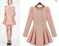 Wholesale Womens spring ultra slim luxury thin coats women fashion double breasted pink navy dress ruffle trench coat