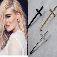 Wholesale vintage large Cross Earrings punk studs Gold plated new earring hot charm girl gift fashion jewelry