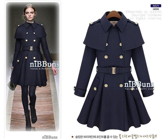 2017 Stylish Womens Winter Wool Warm Coats Luxury Lady Ruffle ...